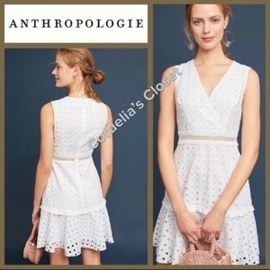 NWT! [ ANTHROPOLOGIE ] Eyelet Cut Out White Dress